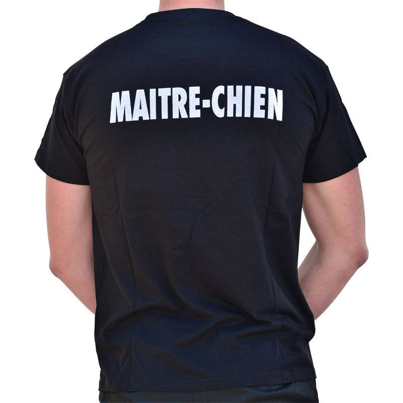 tee shirts noir avec impression maitre chien sur c ur et dos. Black Bedroom Furniture Sets. Home Design Ideas