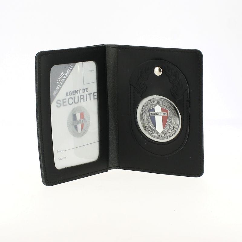 Porte Carte Cuir Avec Medaille Agent De Securite Privee