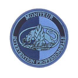 Ecusson brodé Moniteur Intervention Professionnelle basse visi. Bleu