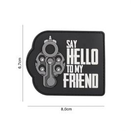 "Patch ""Say hello to my friend"" en PVC noir - 101 Inc"