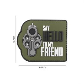 "Patch ""Say hello to my friend"" en PVC vert - 101 Inc"