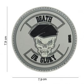 "Patch 3D en PVC ""Death or Glory"" gris - 101 Inc"